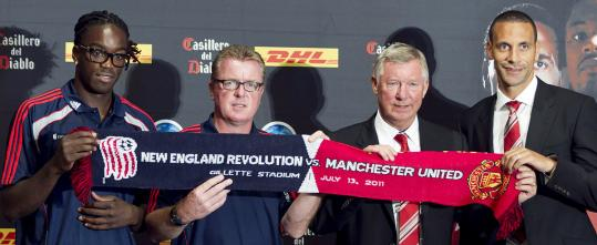 Shalrie Joseph (left) and Steve Nicol of the Revolution and Manchester United's Alex Ferguson and defender Rio Ferdinand meet with the media to discuss their game tomorrow night in Foxborough.