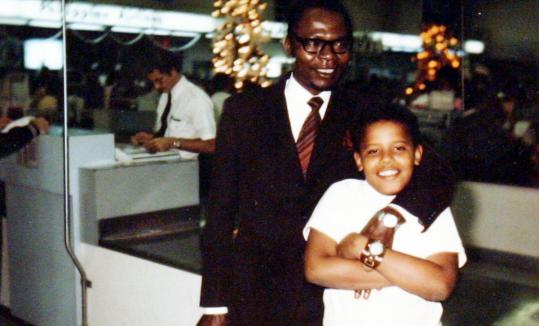 Barack Obama Sr. and his son during a visit in Honolulu in 1971. The elder Obama died in a car crash in Nairobi in 1982.