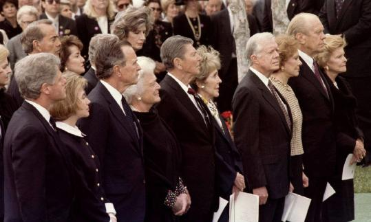 Presidents and their wives, including Bill and Hillary Clinton, George H.W. and Barbara Bush, Ronald and Nancy Reagan, Jimmy and Rosalynn Carter, and Gerald and Betty Ford, attended President Nixon's funeral in 1994 at his presidential library in Yorba Linda, Calif.