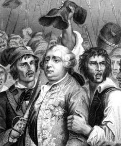 An 1856 engraving of King Louis XVI being threatened by a mob on June 20, 1792.