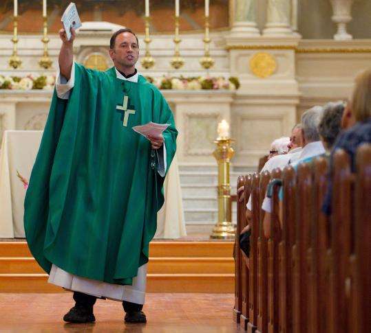 The Rev. John Unni gave a sermon at a Mass Sunday welcoming gays and lesbians, which had been postponed amid criticism.
