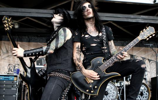 Guitarists Jake Pitts (left) and Jeremy Ferguson of the Black Veil Brides, one of more than 70 bands at the show.