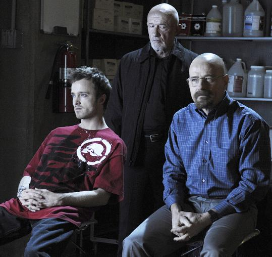 From left: Aaron Paul, Jonathan Banks, and Bryan Cranston in &#8220;Breaking Bad.&#8217;&#8217; The series returns Sunday night at 10.
