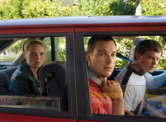 "From left: Karoline Herfurth, Florian David Fitz, and Johannes Allmayer in ""Vincent Wants to Sea.''"
