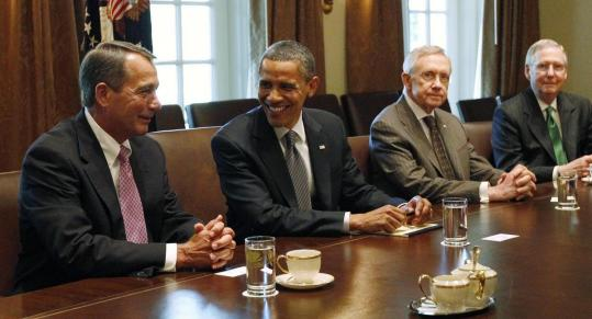 President Obama conducted a meeting with the congressional leadership yesterday in Washington.
