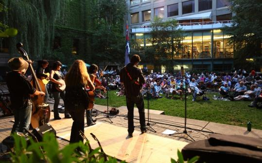The courtyard of the Museum of Fine Arts is an intimate summer venue. Bluegrass band Cherryholmes (pictured) played last year.