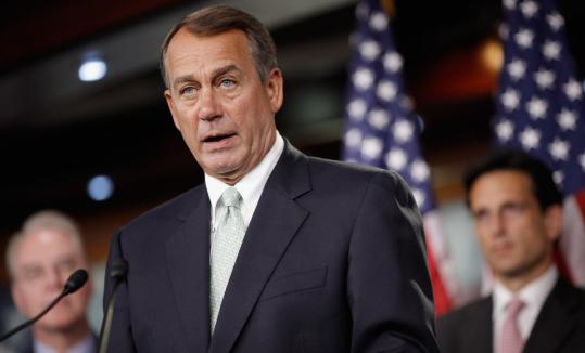 House Speaker John Boehner gave no public hint of accord after meeting with top presidential advisers yesterday.