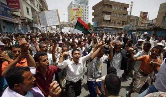 Protesters demanded the ouster of Yemen's president yesterday in Taiz. Weak security has allowed armed tribesmen and radical Islamist groups to take over parts of the country.