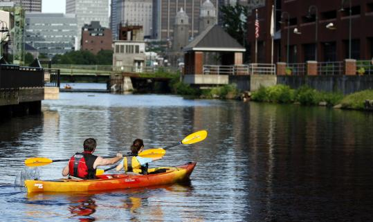 Sunny and Shaina Gleason took off from Charles River Canoe & Kayak.