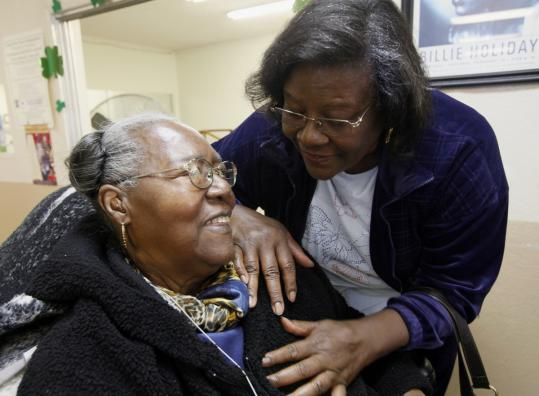 Dorothy Greewood and her daughter, Mary Nonnette, talked at an LA adult day center. Such programs may be at risk.