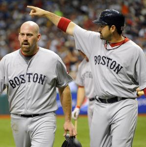 Adrian Gonzalez made a good point to second after scoring along with Kevin Youkilis on David Ortiz's double in the third.