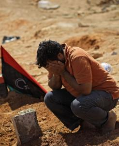 A Libyan man yesterday mourned a rebel fighter killed during recent fighting near the eastern oil city of Brega.