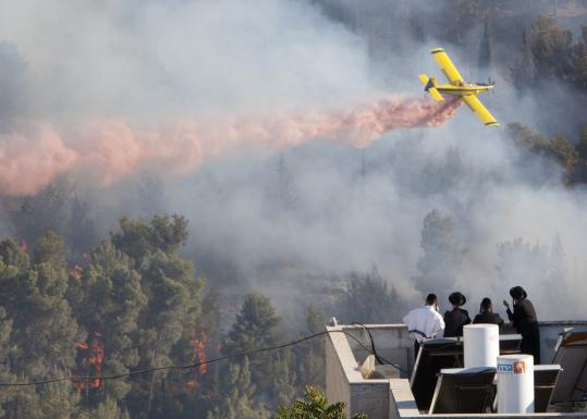 A fire plane dropped retardant yesterday to douse the blaze in the forest below Yad Vashem, Israel's Holocaust memorial.