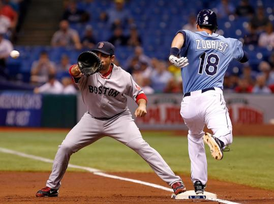 As Adrian Gonzalez could attest, even making first base was hard for Ben Zobrist and the Rays, who had only three hits.