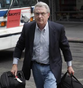 Judge Arthur Boylan arrives for the NFL labor talks.