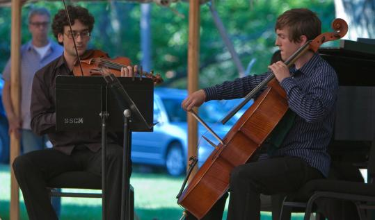 Music students Paul Vest and Christian Danowicz performing last year at the festival's annual free Sunday in the Park concert on Duxbury Town Green.