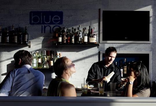 The bar at chef Jason Santos's new Broad Street restaurant, Blue Inc.