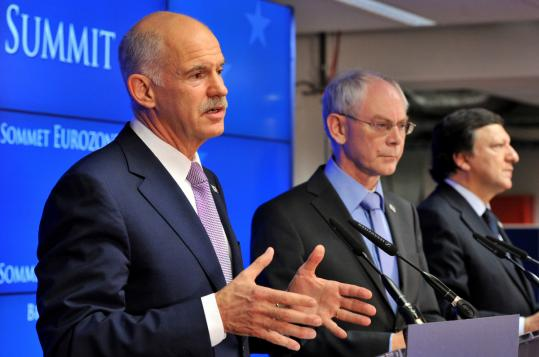 From left, Prime Minister George A. Papandreou of Greece, European Council President Herman Van Rompuy, and European Commission President Jose Manuel Barroso announced the new rescue package for Greece yesterday in Brussels.