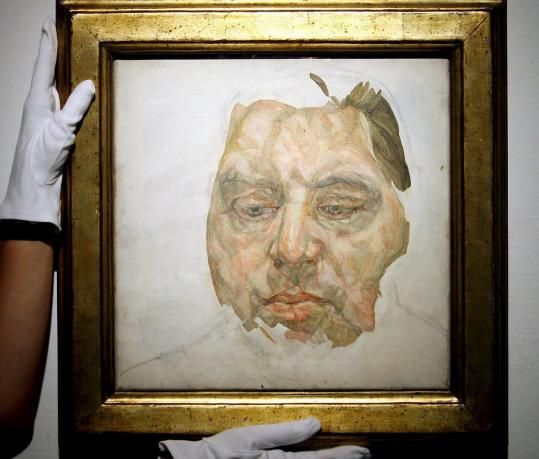 Mr. Freud's 1982 portrait of Francis Bacon (above) was shown to bidders. He painted long hours. Below, a self portrait.