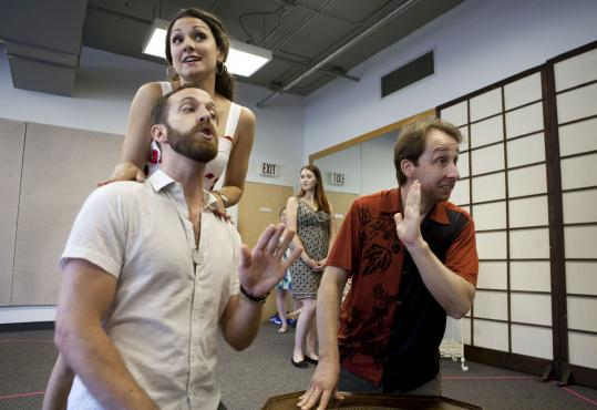 "Sandra Piques Eddy rehearses with Eric Downs (left) and David Kravitz for Boston Midsummer Opera's production of ""The Italian Girl in Algiers.''"