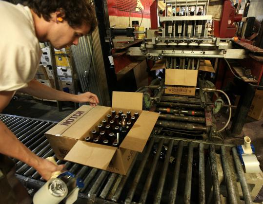 Cooper Reid packed bottles of Notch Session Ale at the Ipswich Ale Brewery. The beer was introduced in the spring.