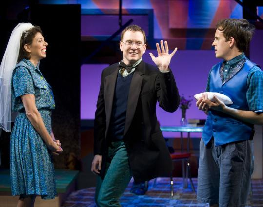 "From left: Jill Abramovitz, Adam Monley, and Taylor Trensch in the Barrington Stage Company's Stage 2 production of ""Mormons, Mothers and Monsters,'' in Pittsfield."