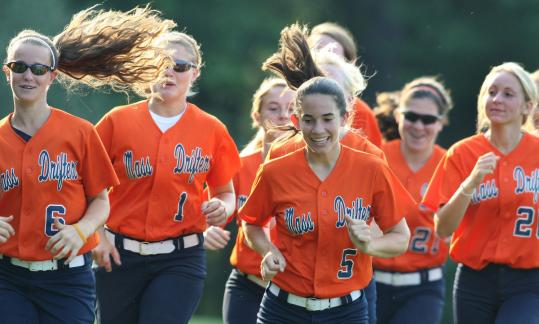 Devan Rabidou, No. 5, leads the pack on two laps before practice this past week in Raynham for the 18U Mass Drifters program. Other runners are Katie Romano, No. 6; Marlee Haigh, No. 1; and Jillian Shepherd (right), No. 20.