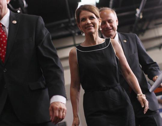 Michele Bachmann leaves a news conference in Washington earlier this month.
