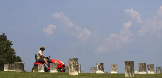 Groundskeeper Clint McDonald mowed the lawn at Confederate Memorial Park, which was once the site of a home for Confederate soldiers in Mountain Creek, Ala.