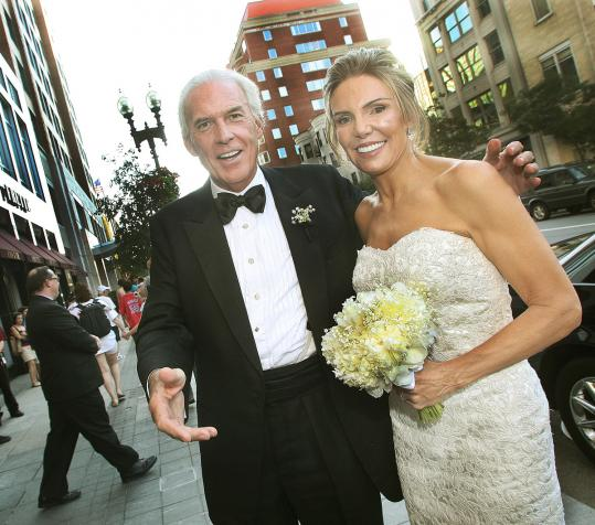 Lesley Visser with her husband, Robert Kanuth (above), outside the Mandarin Oriental, where they held their wedding reception Saturday, and inside with CBS president Leslie Moonves.