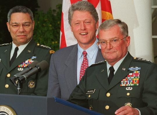 Colin Powell and President Clinton listened as John Shalikashvili spoke at the White House in 1993.