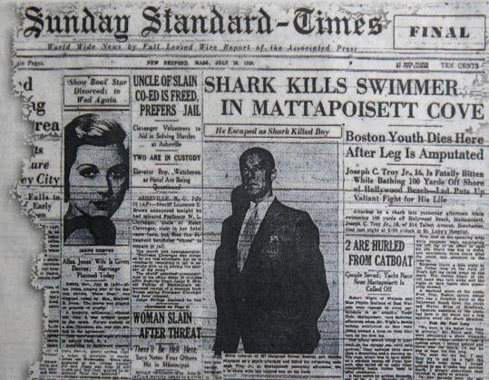 The New Bedford Standard-Times reported the shark attack that took the life of Joseph Troy, Jr. He was 16.