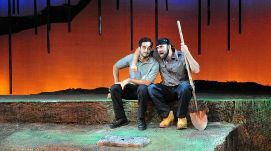 "Francisco Solorzano (left) and Timothy John Smith star in the Gloucester Stage Company production of ""Last Day'' in Gloucester."