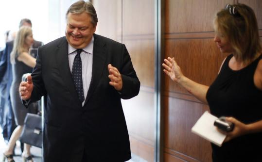Greece's finance minister, Evangelos Venizelos, deflected a question as he arrived at a meeting in Washington yesterday.
