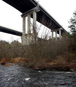 The Interstate 190 overpass over the Quinapoxet River in West Boylston, where Roger A. Leo, 64, leaped to his death.