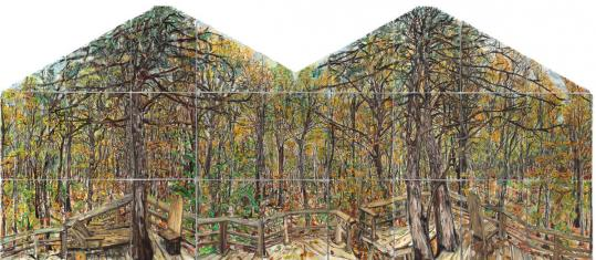 "The large painting in Nick Miller's ""Tree House 360°'' at the Concord Art Association comprises 27 panels of paint on paper."