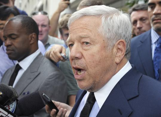 New England Patriots owner Robert Kraft speaks in Washington Monday.