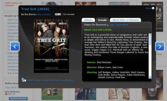 """True Grit'' is among the movies that can be viewed through Wal-Mart's new video-streaming service."