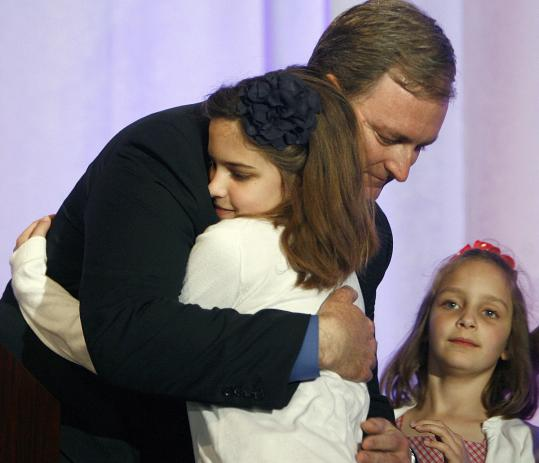 Trey Grayson hugged daughters Alex and Kate after his concession speech in May 2010. Rand Paul, backed by the Tea Party movement, defeated him in the Republican primary for Senate.