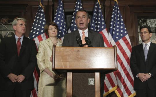 House GOP leaders flanked Speaker John Boehner during an announcement on his proposed debt-ceiling legislation yesterday.