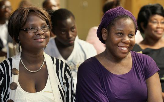 Nirva Sajous and Sara Joint attended the graduation ceremony at Boston Missionary Baptist Church in Roxbury yesterday.