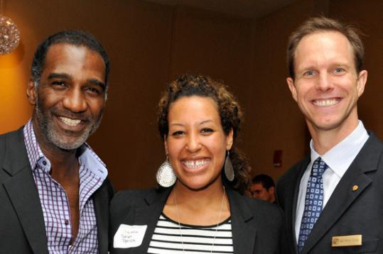 Norm Lewis (left) with Sarah Patrick and Matthew Sterne, general manager of the Fairmont Battery Wharf, at the Get Konnected! event.