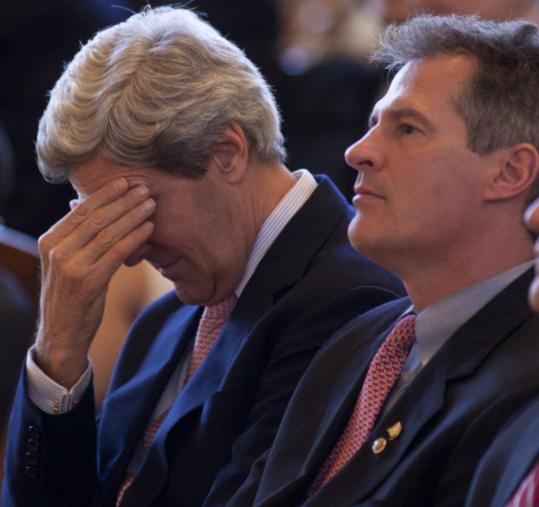 John F. Kerry and Scott Brown in Faneuil Hall in February.