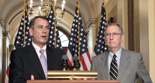House Speaker John Boehner and Senate minority leader Mitch McConnell at a news conference yesterday. Both Republicans indicated they were involved in negotiations with the White House.