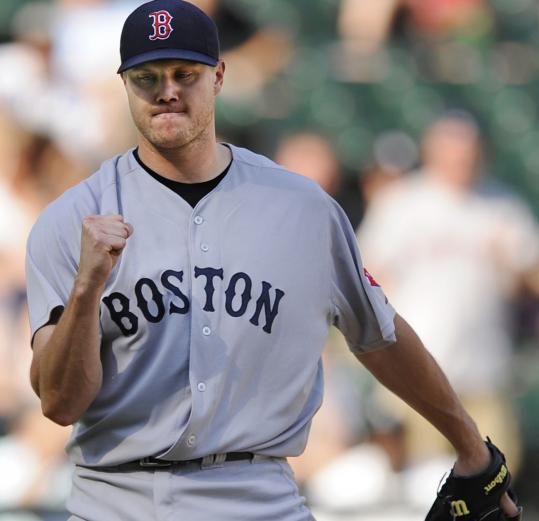 Jonathan Papelbon celebrates after converting his 19th consecutive save chance, and 24th save overall.