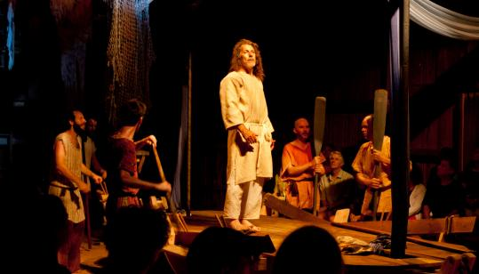 Carlos Uriona (center) as Odysseus in Double Edge Theatre's indoor and outdoor production of ''The Odyssey.''