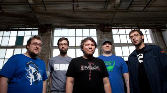 From left: webcomic cartoonists KC Green, Andrew Hussie, Jeffrey Rowland, Jeph Jacques, and Richard Stevens.