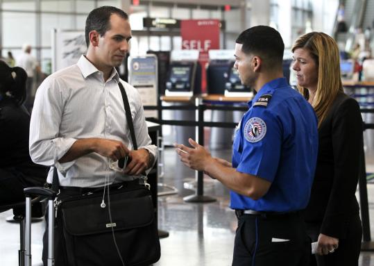 "Andrew Timko of Andover was questioned by a TSA officer yesterday. ""It's going to get old if I have to answer the same questions every week,'' he said."