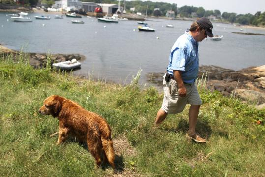 Peter Noyes and his dog visit Gerry Island, where he wants to build a boat storage area.