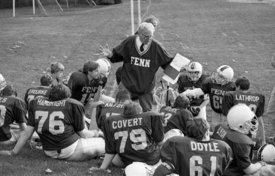 The late Read Albright, seen speaking to the Fenn School football team in an undated file photo, was honored at a memorial service at the school.